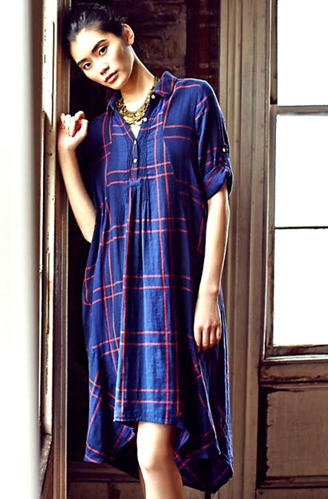 New Anthropologie Isabella Sinclair Navy Red Plaid