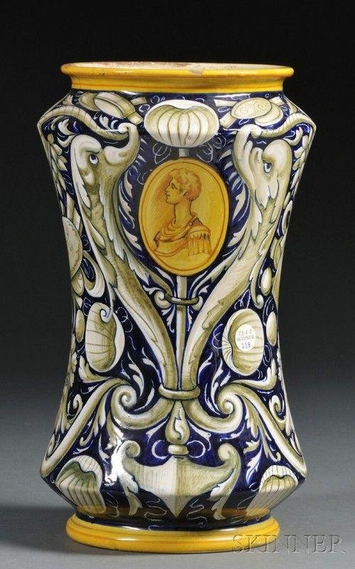 238 Cantagalli Majolica Vase Italy 19th Century Pol Lot 238 Faience