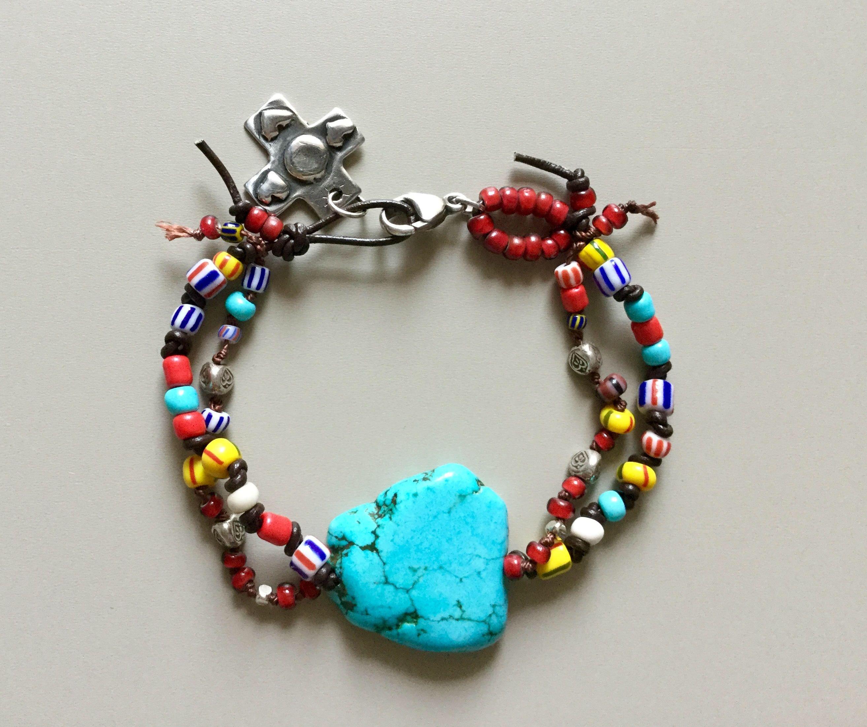 Bohemian Hippie Jewelry Beaded Bracelets Boho Trade Beads Bracelet Colorful Turquoise Beach White Heart