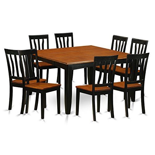 East West Furniture Pfan9 Bch W 9 Piece Dining Table And 8 Solid