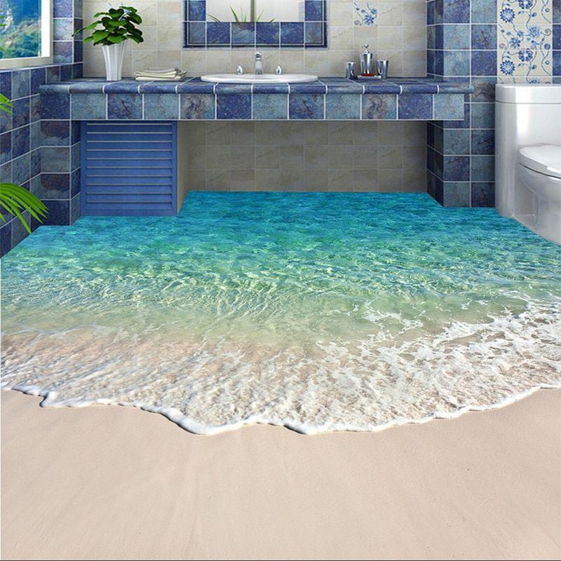 Custom Self Adhesive Floor Mural Photo Wallpaper 3d Seawater Wave Flooring Sticker Bathroom Wear Non Slip Water In 2020 Floor Murals Floor Wallpaper Modern Floor Paint