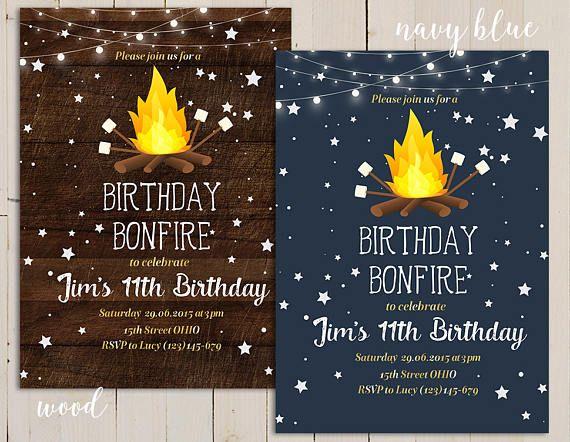 Birthday Bonfire Invitation Party Invite Camping Backyard Campfire Marshmallow Smores