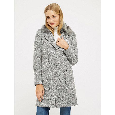 Buy Oasis Felicity Formal Faux Fur Collar Coat, Mid Grey Online at johnlewis.com