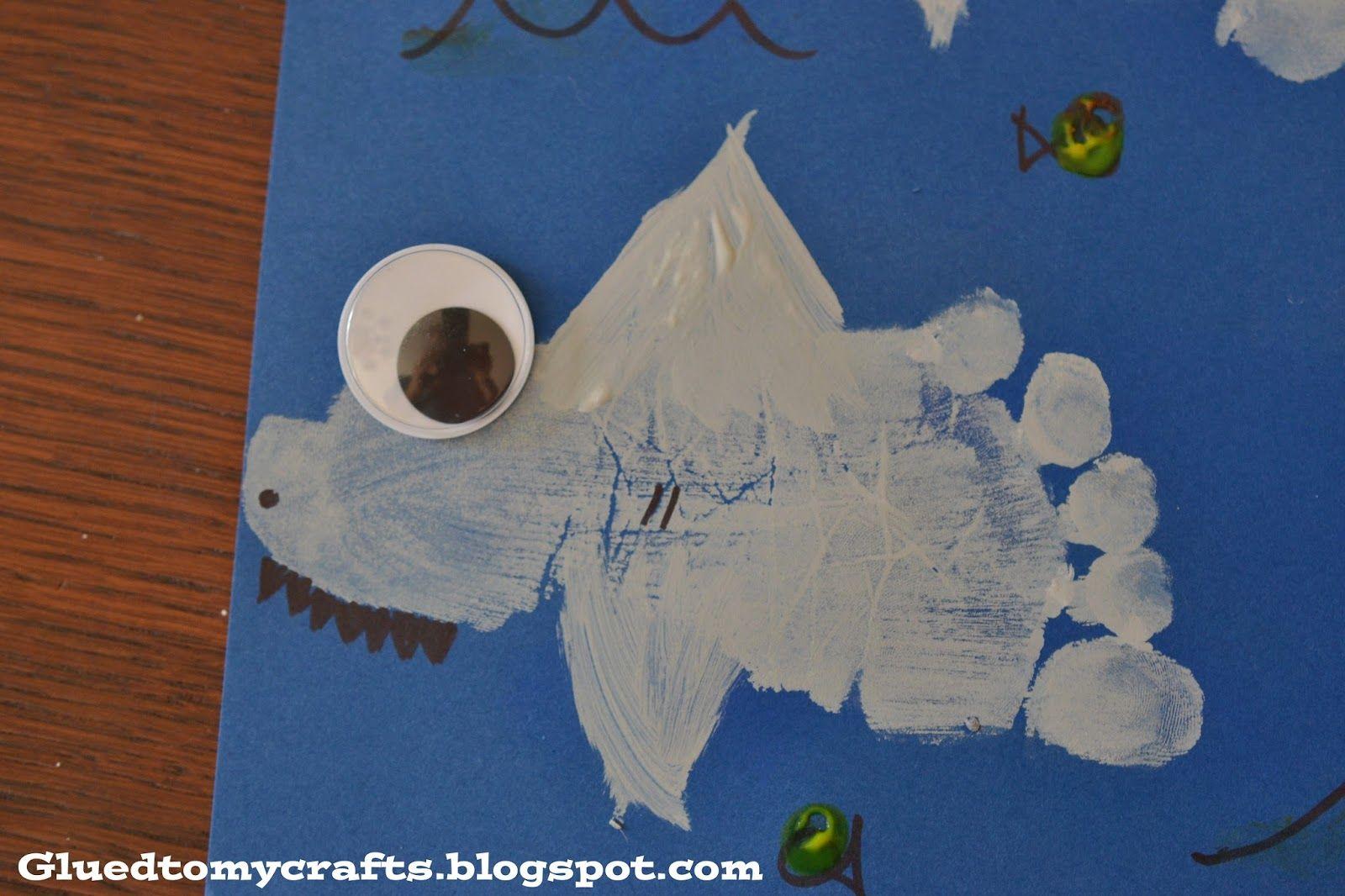Footprint Sharks Keepsake Shark Week Kid Craft Baby Decor