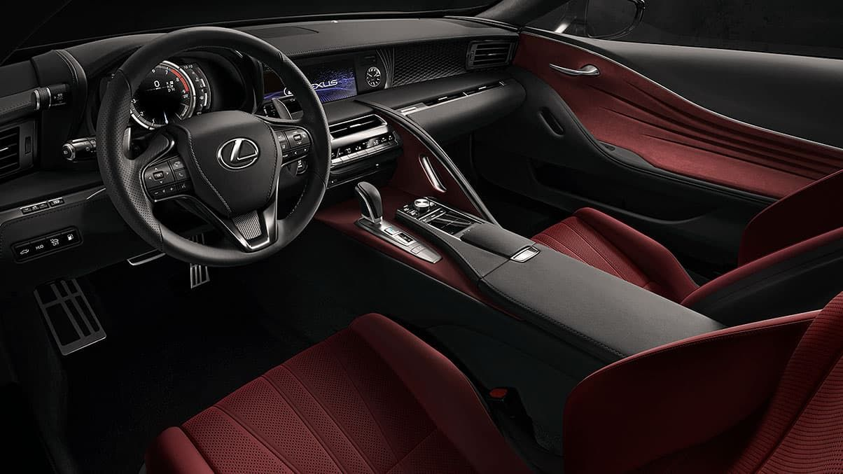 Interior Of The Lc 500 Shown With Rioja Red Leather Interior Trim In 2020 Lexus Lc Lexus Luxury Hybrid Cars