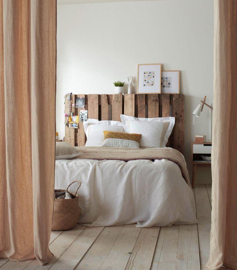 rideau lin colours beaumaris paille 140 x 240 cm lit en bois de palettes rideaux en lin et. Black Bedroom Furniture Sets. Home Design Ideas