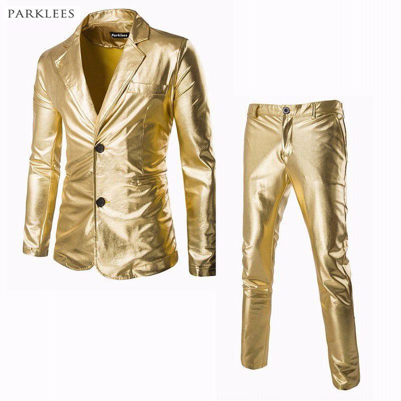 Men/'s Slim Fit Leather Suit 2PCS Jacket Pants Nightclub Motorcycle Party Dress