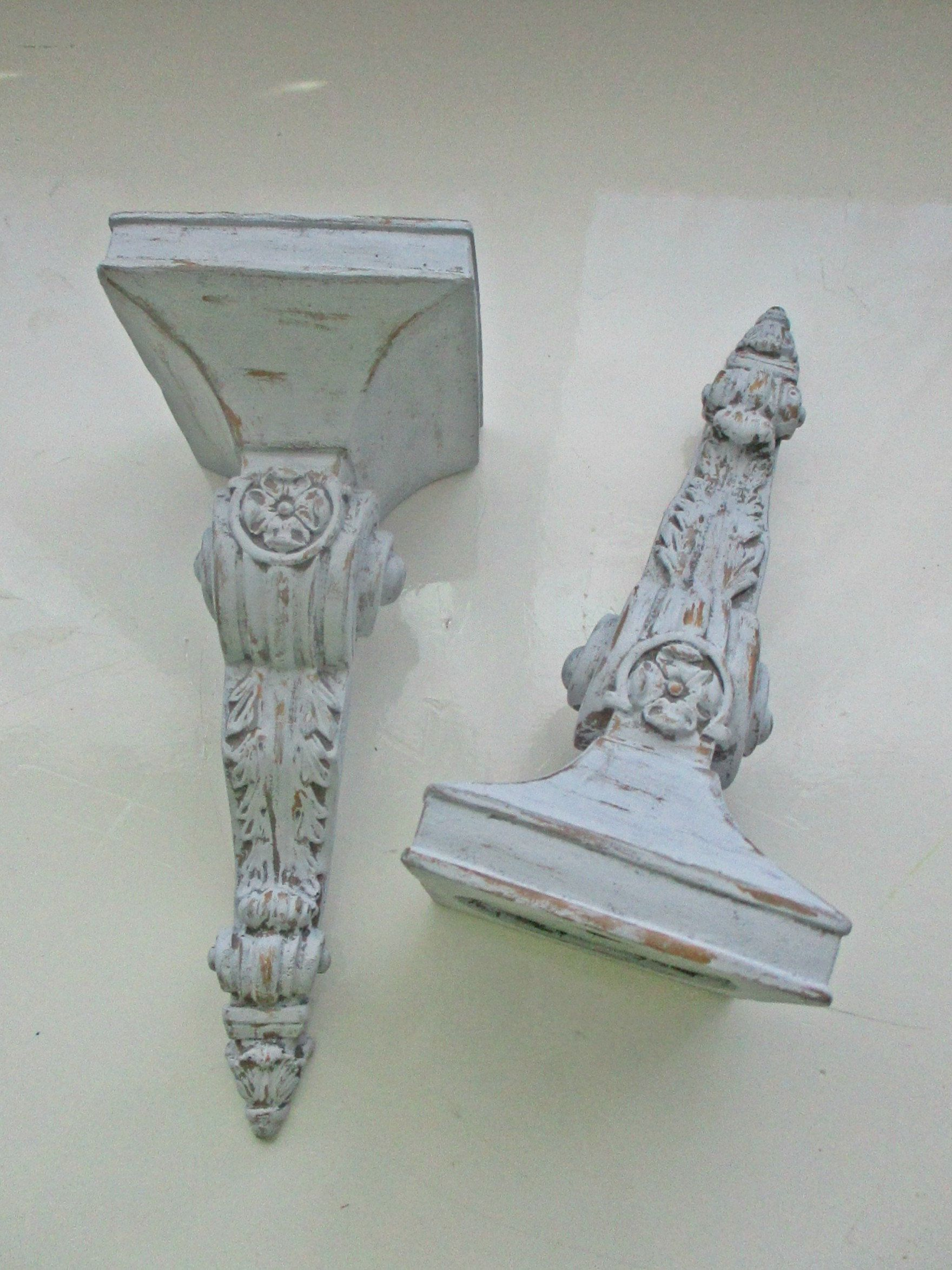 Wall candle holders wall sconces distressed baroque mute grey