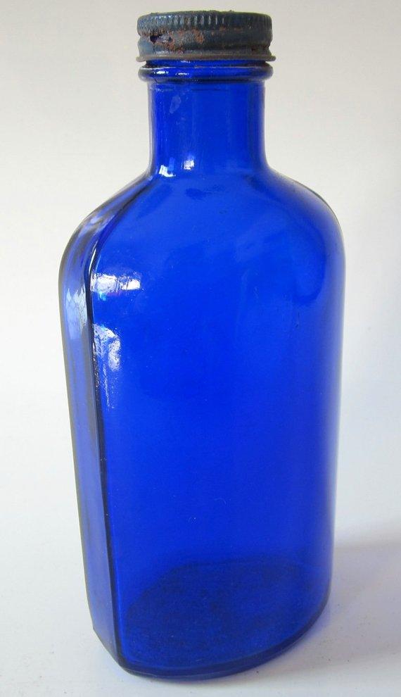 Vintage Blue Coral Cobalt Blue Glass Bottle Compackage Embossed