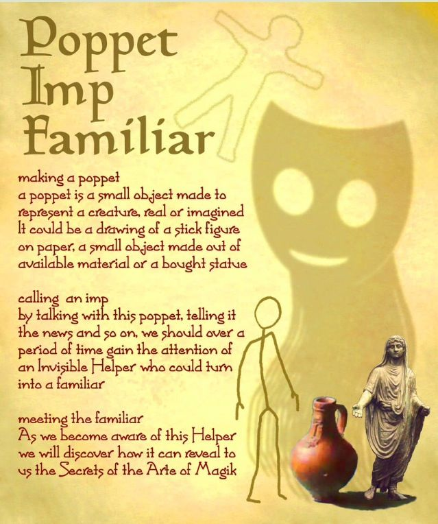 Poppet, Imp, Familiar | Witchery | Book of shadows, Wiccan witch