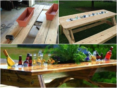 Garden table with built-in beer / wine coolers | DIY Projects ...