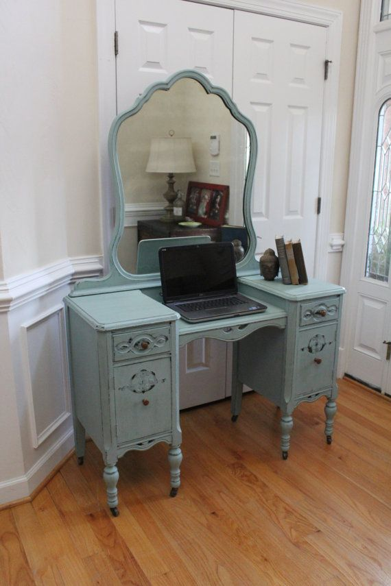 Vintage Vanity/Desk - Annie Sloan Chalk Paint - Duck Egg - Dressing Table - - Vintage Vanity/Desk - Annie Sloan Chalk Paint - Duck Egg - Dressing