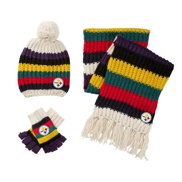 c4dd36735 Pittsburgh Steelers Touch Women's Varsity Stripe Scarf, Hat, and ...