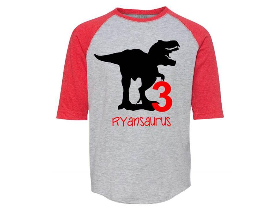 Custom Party Shop Kids Dinosaur 4th of July Red Baseball Tee