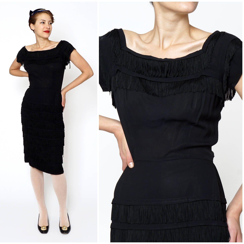 1950s tiered cocktail dress  1950s little black dress  vintage wiggle dress