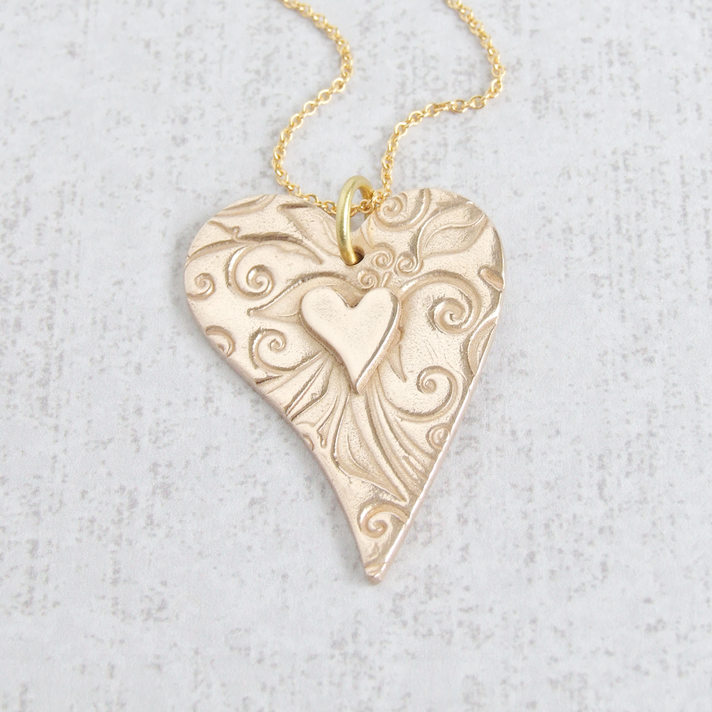 Two Hearts Gold Bronze Pendant Necklace Pendant necklace