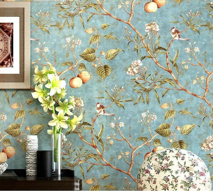 papier-peint-décoratif-salon-style-vintage-motifs-flore-faune-fond ...