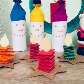Kleine Kerzen falten – Basteln mit Kindern #weihnachtenbastelnmitkindern