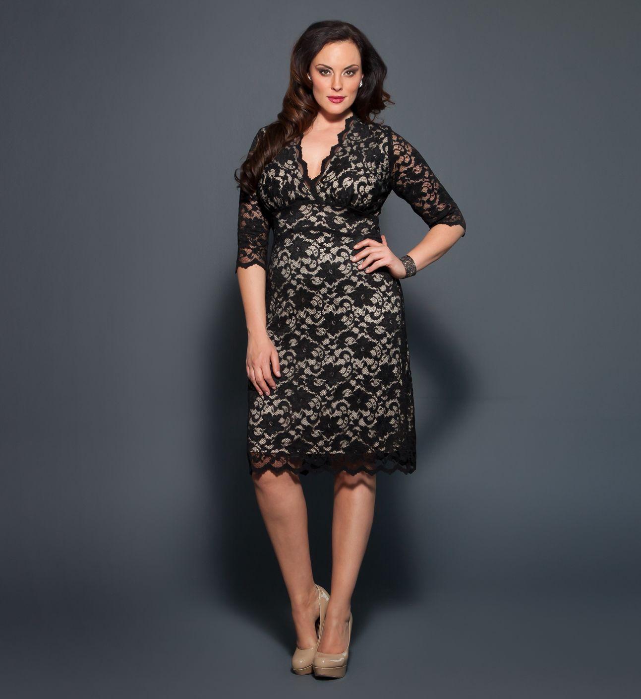 Plus size scalloped lace cocktail dresses