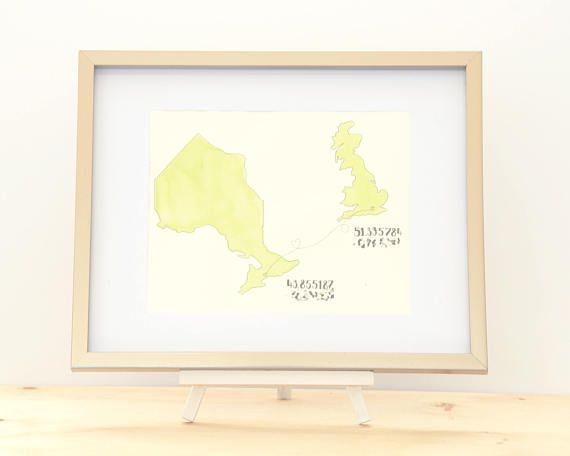 CUSTOM Hand Drawn Map YOUR LOCATION Latitude Longitude Home Town - Map your distance