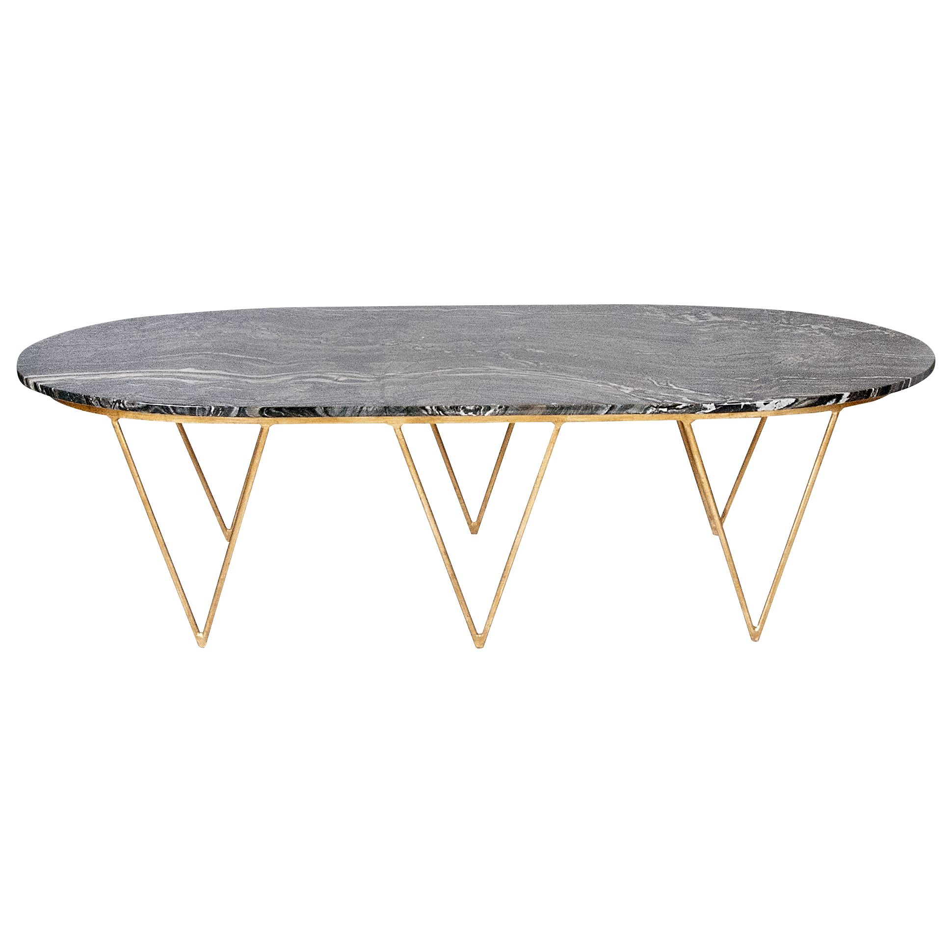 Oval Hairpin Coffee Table with Black Marble Top Available in gold
