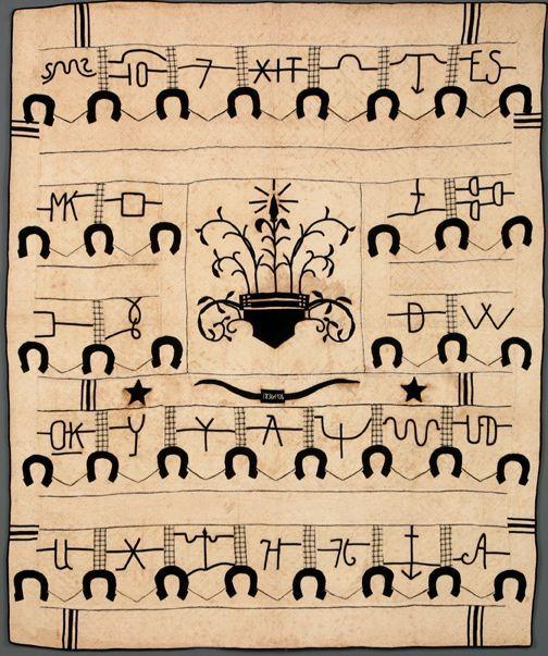 Cattlebrand quilt made by Frances Punchard McCullough, 1936, Huntsville, TX