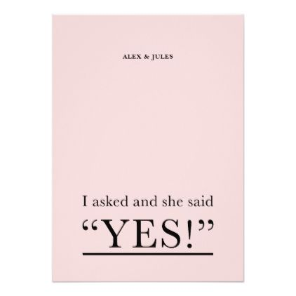 She Said Yes Word Text Engagement Party Invitation engagement