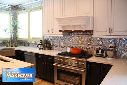 Victoriana tile #tinceilingtiles #backsplash #extrememakeover #interiordesign #homedecor