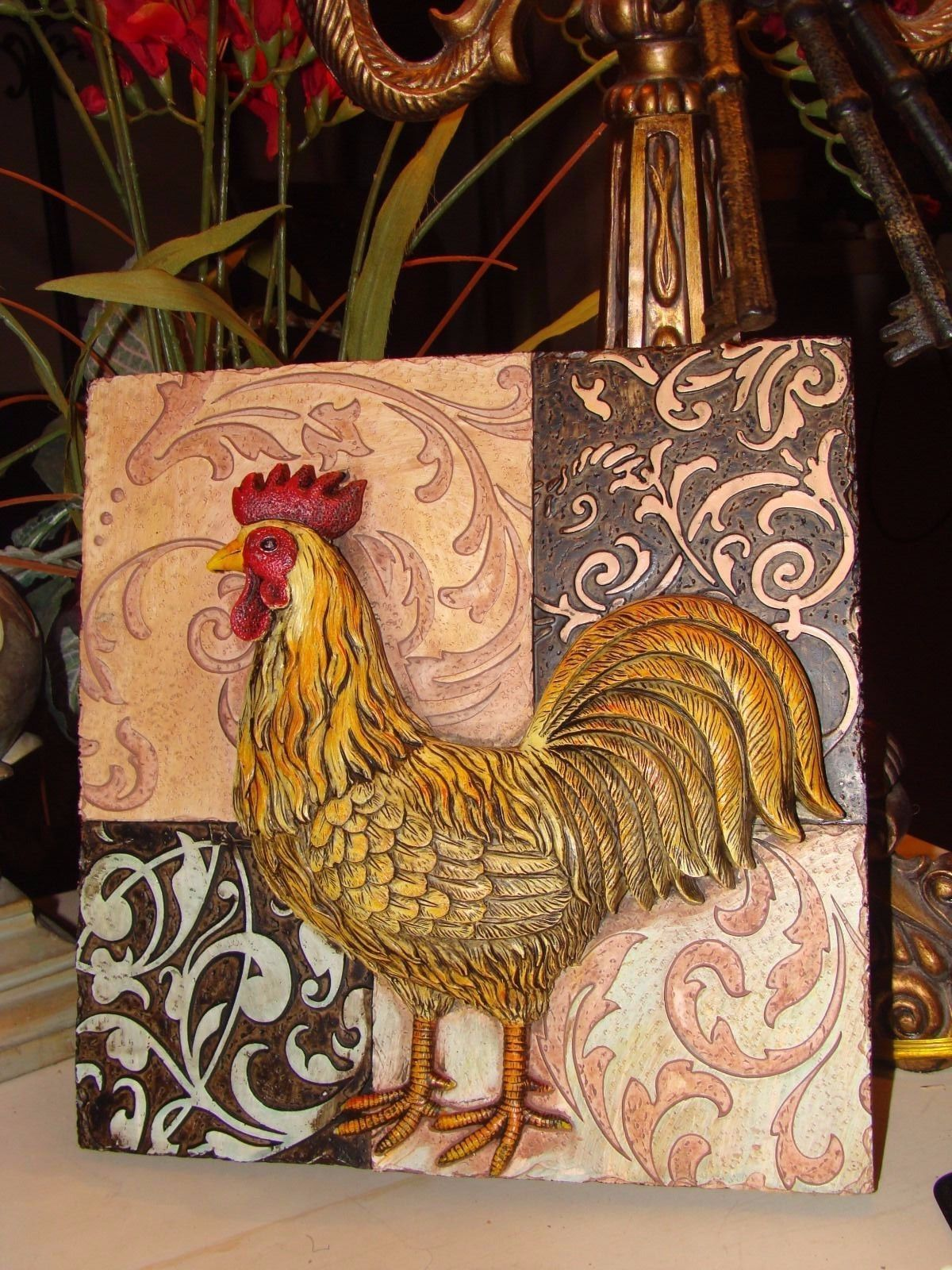 4 Tuscan Rooster Plaques Designer Tuscany Wall Decor Ebay