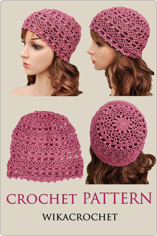 Crochet hat pattern for women summer chemo hat pattern