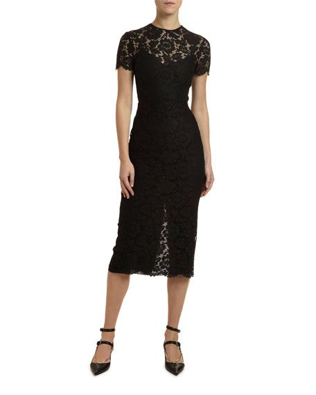 Michael Kors Ribbed Lace Back Bodycon Midi Dress Michael