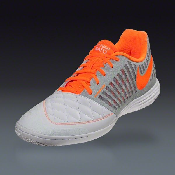 3d2b9799ec3a12 Buy Nike Lunar Gato II - White Total Orange Wolf Grey Cool Grey Indoor  Soccer Shoes on SOCCER.COM. Best Price Guaranteed. Shop for all your soccer  equipment ...