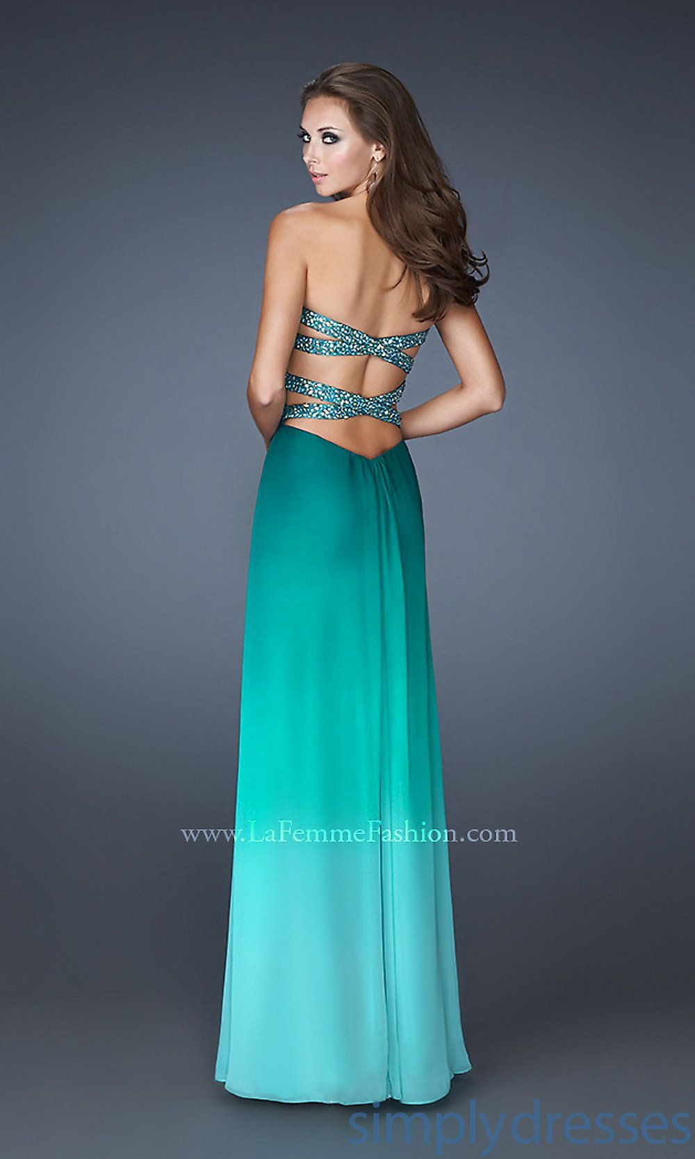 Open back prom dress by la femme dresses pinterest ombre gown