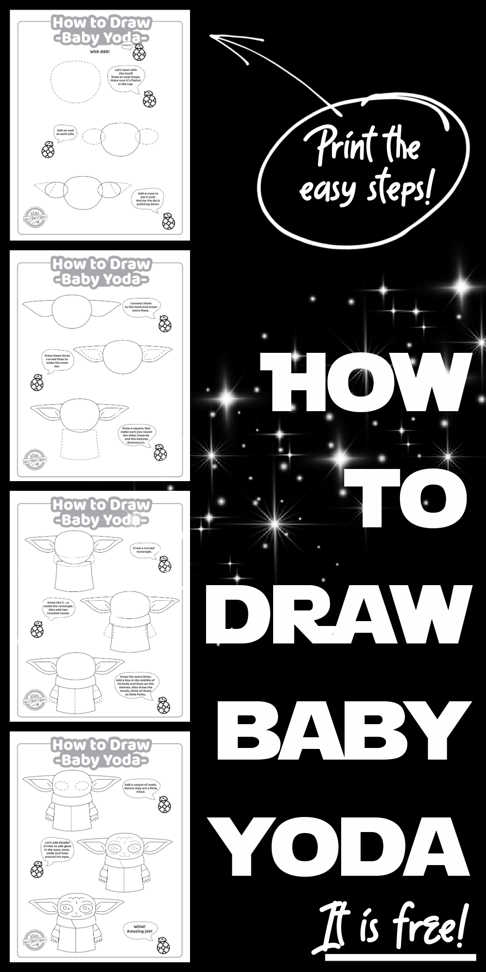 Easy Fun Step By Step How To Draw Baby Yoda Tutorial Kids Activities In 2021 Drawing Tutorial Easy Baby Drawing Yoda Drawing