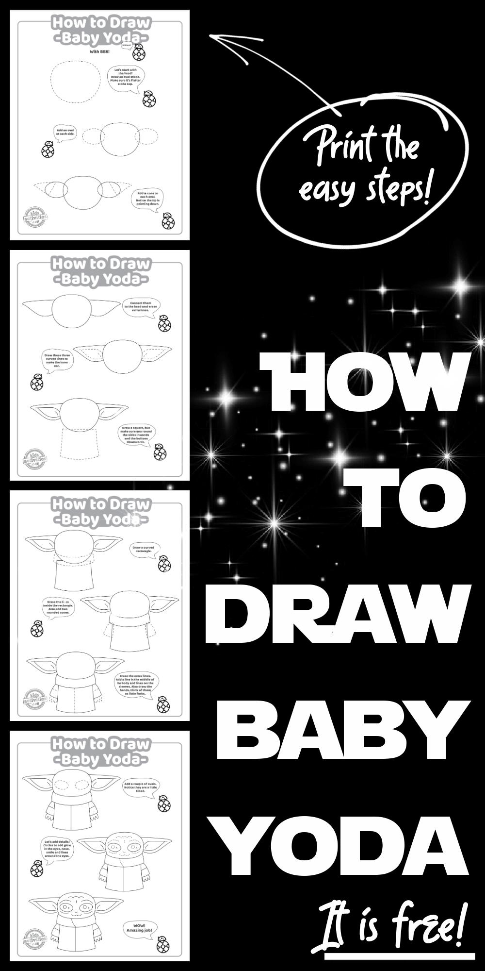 Coloring Pages Baby Yoda The Mandalorian And Baby Yoda Free Star Wars Art Drawings Star Wars Drawings Yoda Art