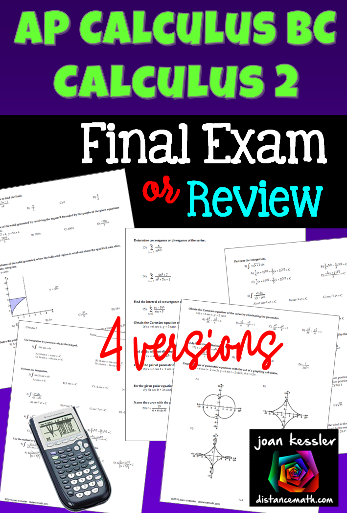 AP Calculus BC or Calculus 2 Final Exam or Study Guide