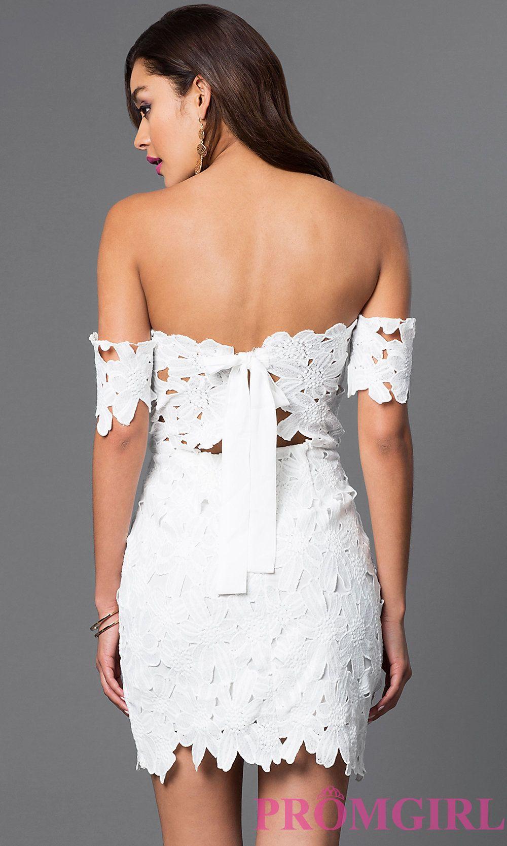 Image of short offtheshoulder lace vneck dress front image