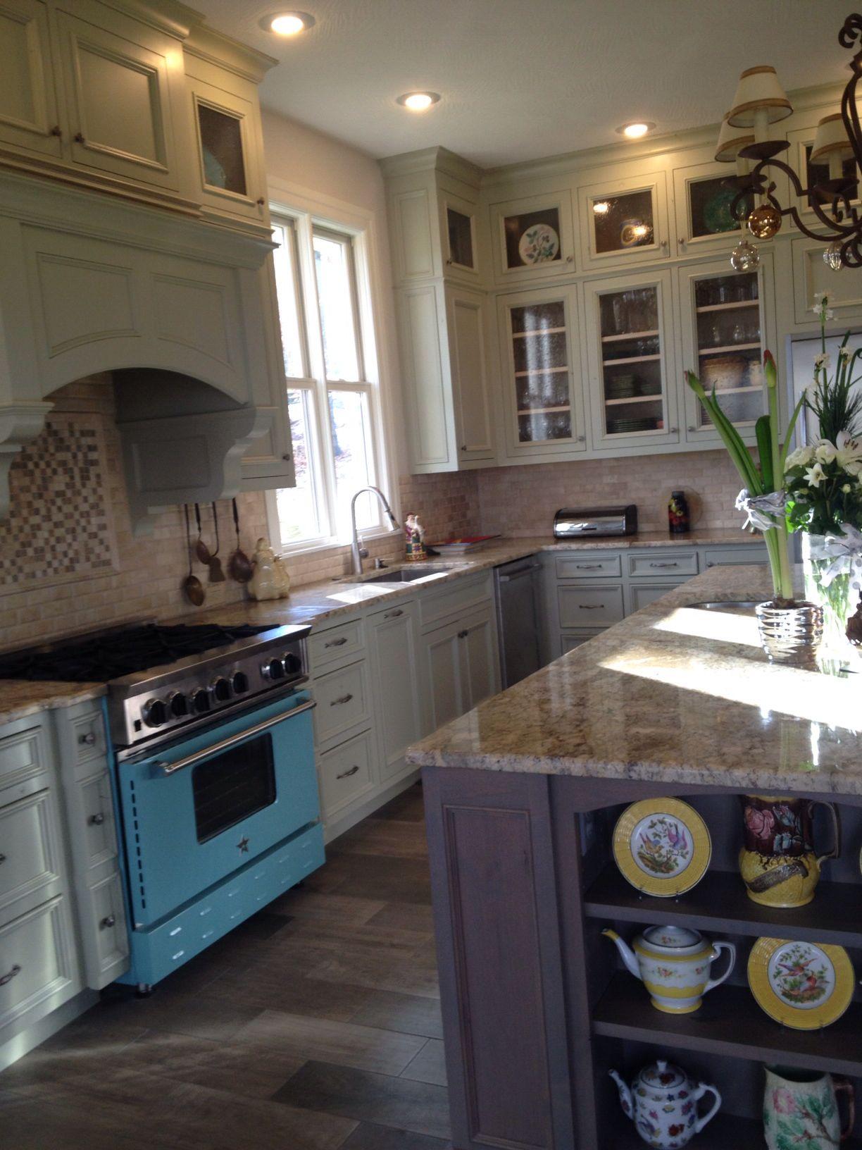 Blue Star Oven Svelte Sage Cabinets Sage Kitchen Kitchen Renovation Green Backsplash