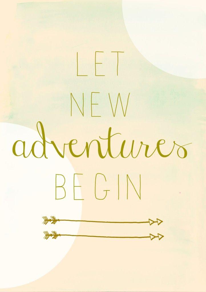 Let New Adventures Begin  Free Pink Watercolor Printable