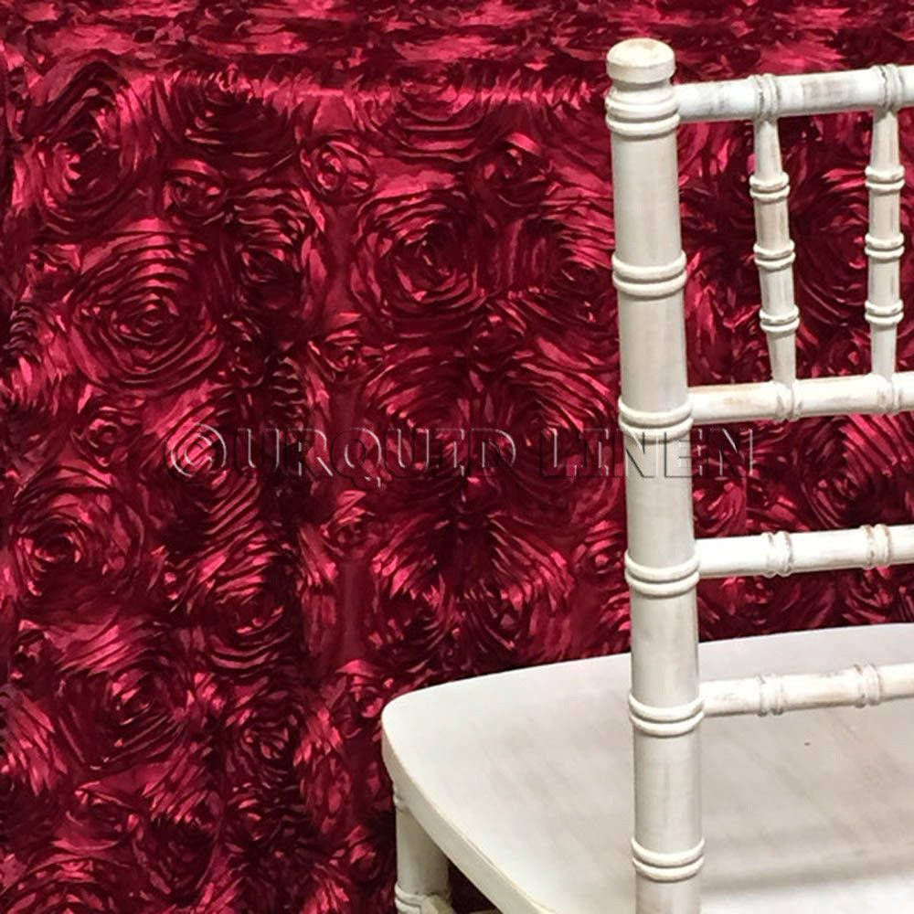 Rose Satin (3D) Tablecloth - Burgundy