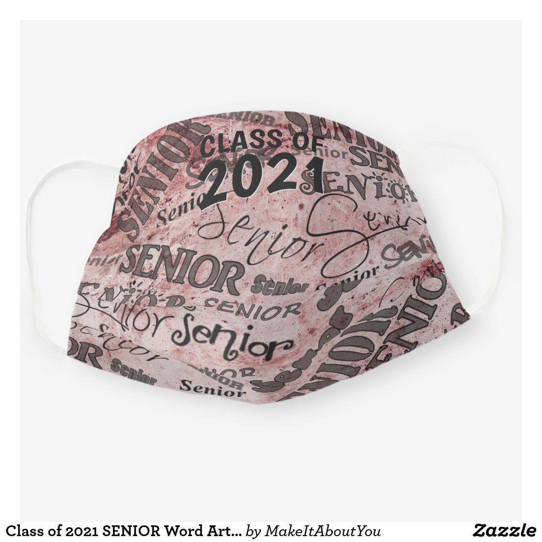 Class of 2021 senior word art red cloth face mask zazzle