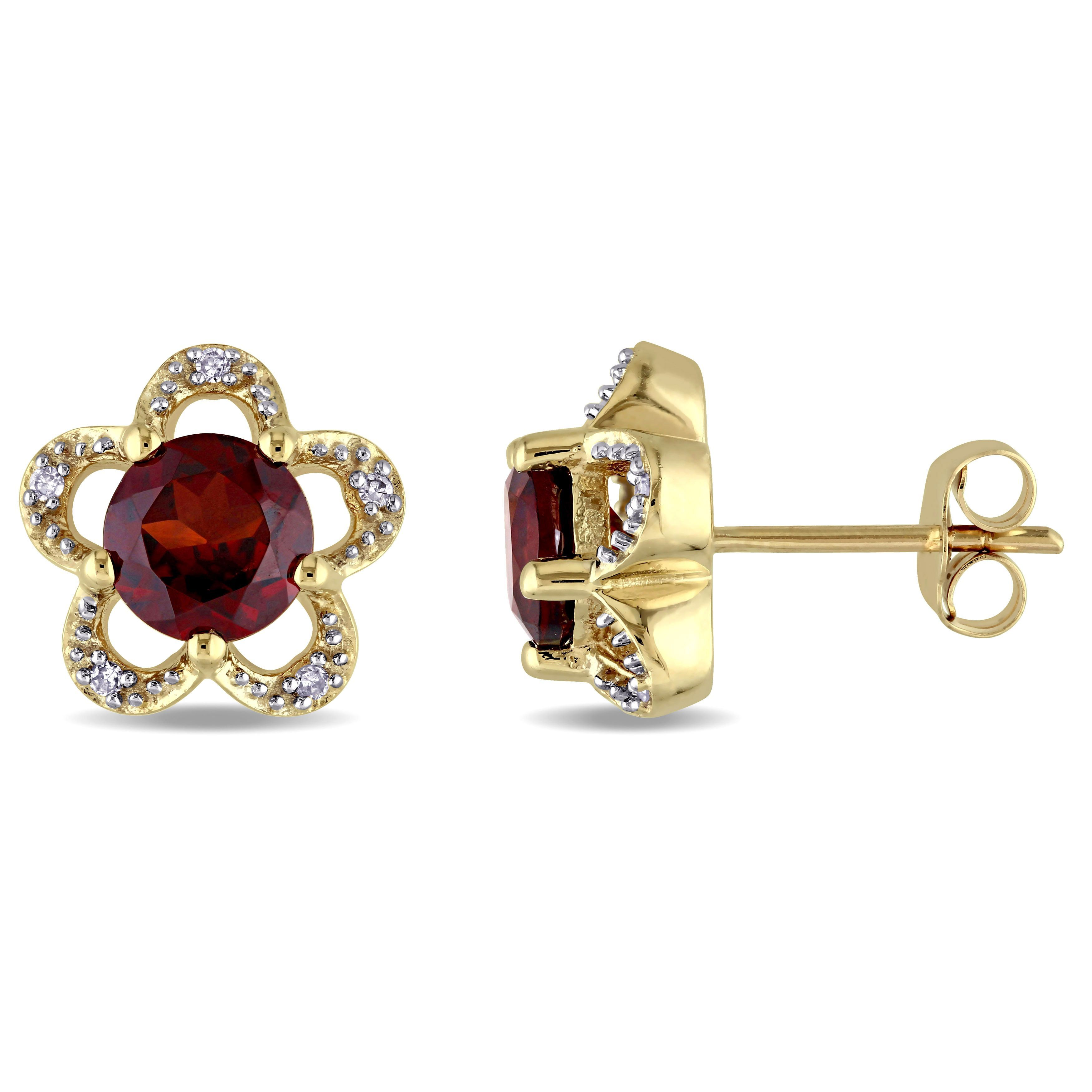 Laura Ashley 10k Yellow Gold Diamond Accent and Garnet Flower Stud