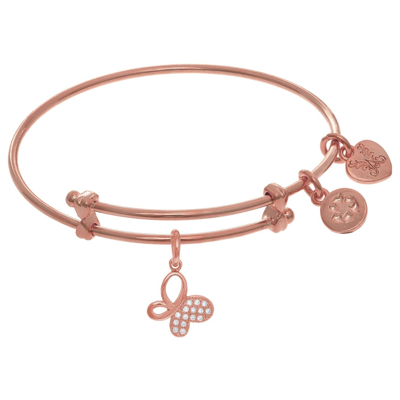 Butterfly Dangle Charm Adjustable Bangle for Tweens by Angelica Collection.  Plated brass set with CZs.  Available in the following colors: yellow, white and pink (shown).  Ref# ROY-PTGEL9079.  Goldex Fine Jewelry ~ (323 (726-7181.