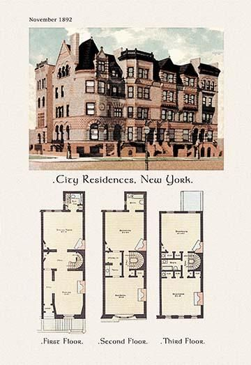 City Residences New York City Residences Vintage House Plans House Floor Plans