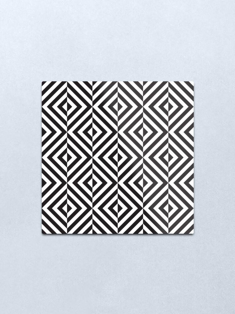 Black And White Diamond Optical Illusion Pattern Metal Print By Kallyfactory Metal Prints Optical Illusions Illusions