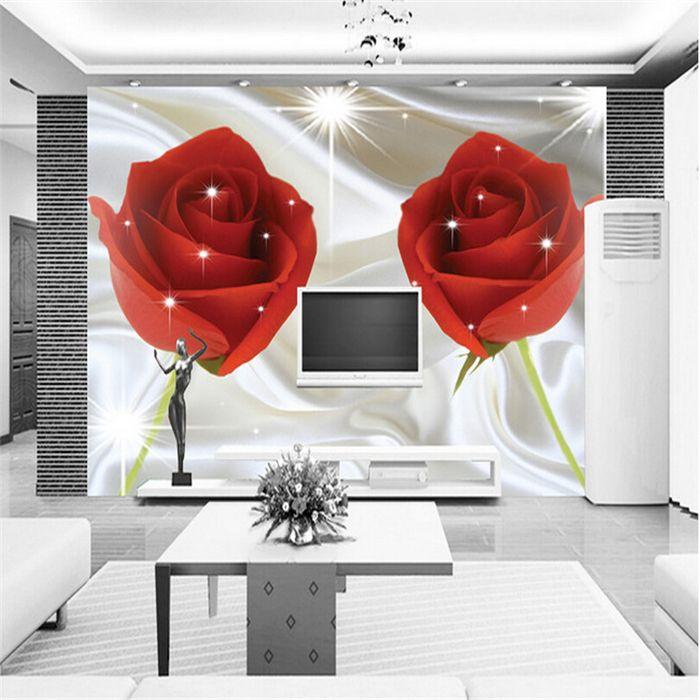 pas cher gros 3d murale papier peint avec deux roses rouges fleurs pour le mariage maison salon. Black Bedroom Furniture Sets. Home Design Ideas
