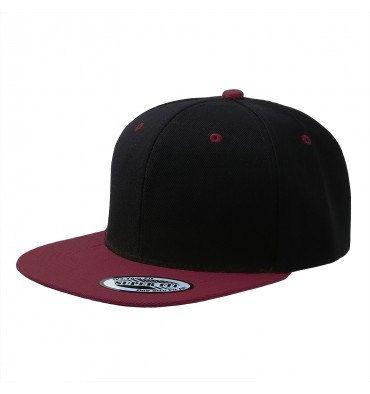 Custom Black and Maroon Natural Snapback Hat Flat Bill Cap 820ff43e005