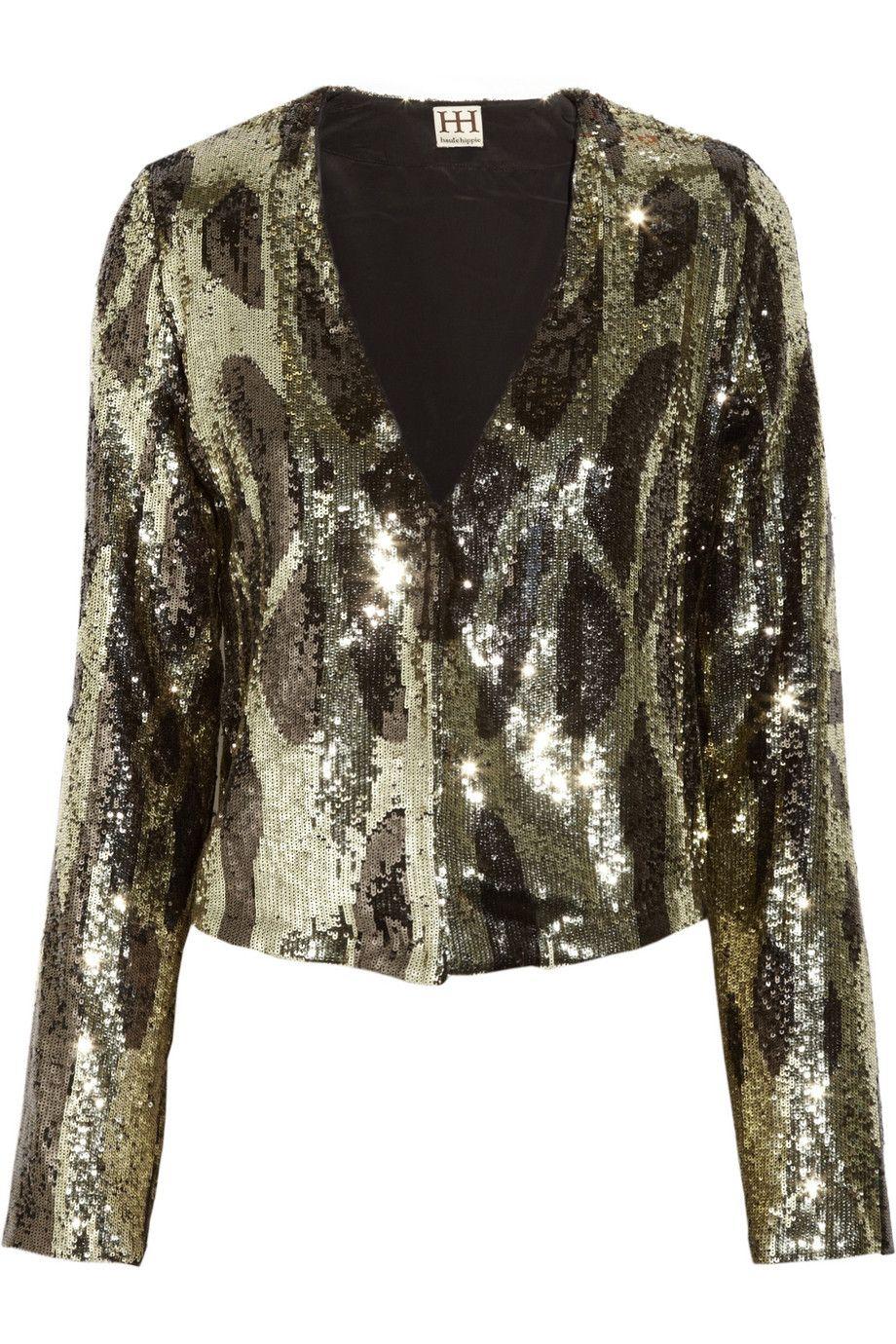 Patterned sequined jacket
