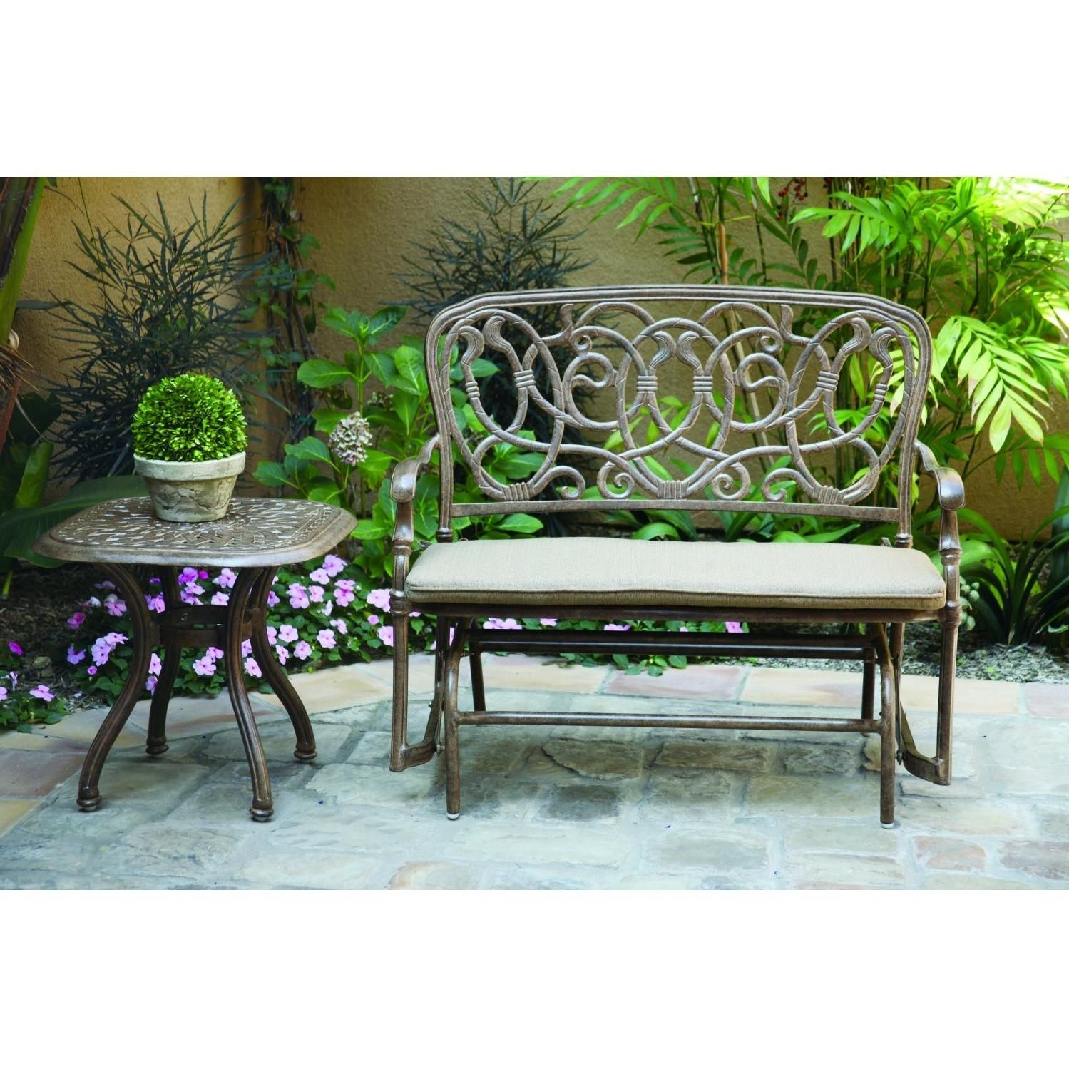 Darlee Florence 2 Piece Aluminum Patio Bench Glider Set Outdoor Glider Patio Rocking Chairs