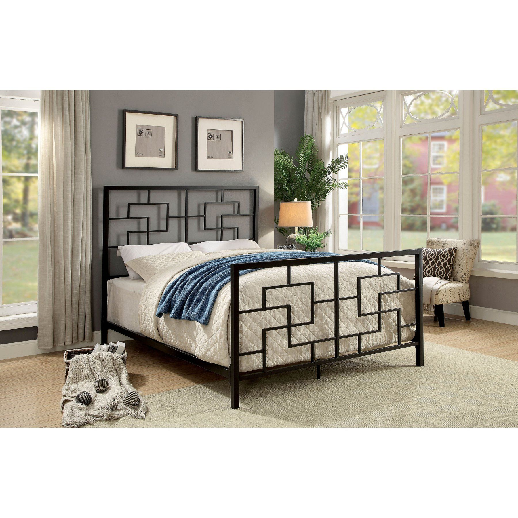 Best Furniture Of America Tiko Mid Century Panel Bed Bed 400 x 300